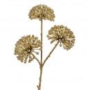 Allium branch Perly 3 heads, L33cm, gold
